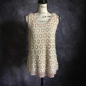 Ann Taylor Crochet with Blush Underlay L